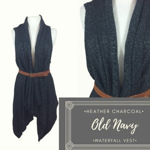 Old Navy Heather Charcoal Waterfall Sweater Vest L